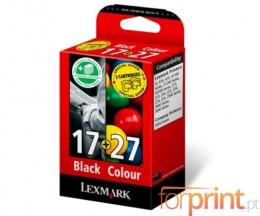 2 Tinteiros Originais, Lexmark 17 Preto 7.4ml + Lexmark 27 Cor 9.2ml