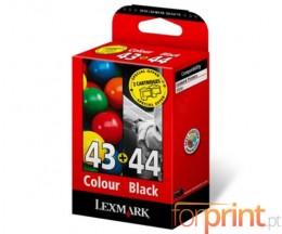 2 Tinteiros Originais, Lexmark 43 XL Cor 24ml + 44 XL Preto 20ml