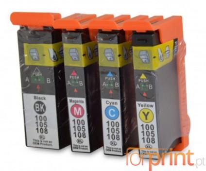 4 Tinteiros Compativeis, Lexmark 100 XL Preto 19ml + Cor 12.5ml