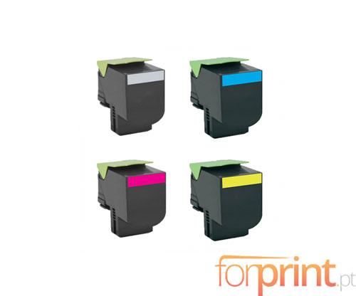 4 Toners Compativeis, Lexmark 802S Preto + Cor ~ 2.500 / 2.000 Paginas