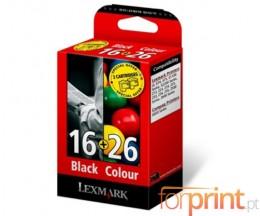 2 Tinteiros Originais, Lexmark 16 Preto 14ml + Lexmark 26 Cor 13.8ml