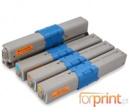 4 Toners Compativeis, OKI 44469803 Preto + 4446970X Cor ~ 3.500 / 2.000 Paginas