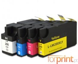 4 Tinteiros Compativeis, Lexmark 200 XL / 210 XL Preto 82ml + Cor 36ml