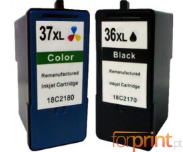 2 Tinteiros Compativeis, Lexmark 37 XL Cor 15ml + Lexmark 36 XL Preto 21ml
