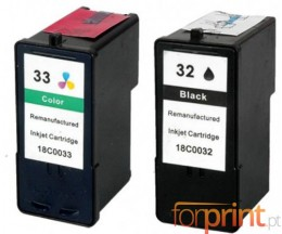 2 Tinteiros Compativeis, Lexmark 32 Cor 15ml + Lexmark 33 Preto 21ml