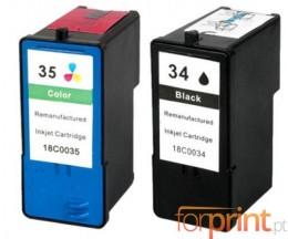 2 Tinteiros Compativeis, Lexmark 35 Cor 15ml + Lexmark 34 Preto 21ml