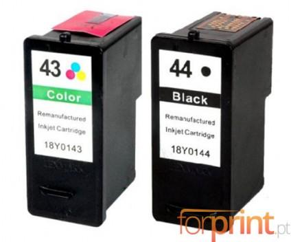 2 Tinteiros Compatíveis, Lexmark 44 XL Preto 21ml + Lexmark 43 XL Cor 15ml