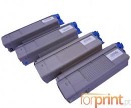 4 Toners Compativeis, OKI 43865708 Preto + 4387230X Cor ~ 8.000 / 2.000 Paginas