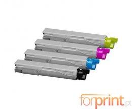 4 Toners Compativeis, OKI 43459324 / 43459369 / 43459370 / 43459371 Preto + Cor ~ 2.500 Paginas