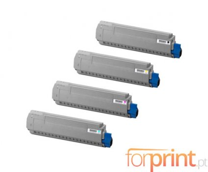 4 Toners Compativeis, OKI 4405916X Preto + Cor ~ 8.000 Paginas