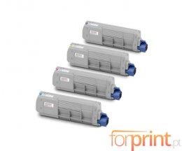 4 Toners Compativeis, OKI 4539630X Preto + Cor ~ 8.000 / 6.000 Paginas