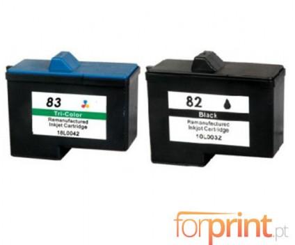 2 Tinteiros Compativeis, Lexmark 82 Preto 21ml + Lexmark 83 Cor 15ml