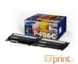 4 Toners Originais, Samsung 406S Preto + Cor ~ 1.000 Paginas